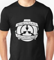 Die in the dark: Black and White Unisex T-Shirt