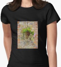 Wicker Basket On Brick Womens Fitted T-Shirt