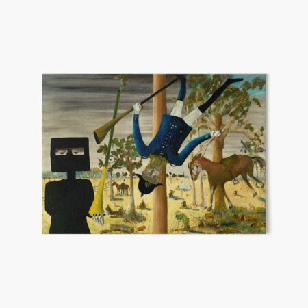 Sidney Nolan - 'Death of Constable Scanlon' (1946), enamel on board. High quality print of the the iconic Australian painting. Art Board Print
