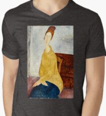 Amedeo Modigliani - Jeanne Hebuterne With Yellow Sweater (Le Sweater Jaune)  Mens V-Neck T-Shirt