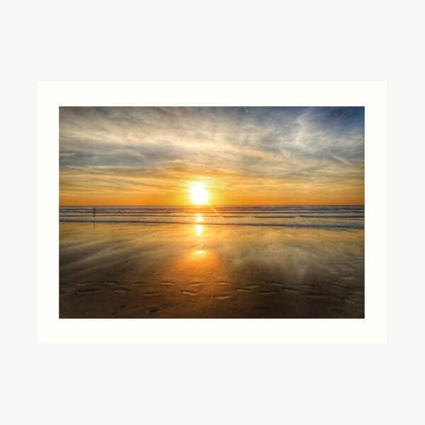 FOOTPRINTS IN THE SAND, PORTHTOWAN Art Print
