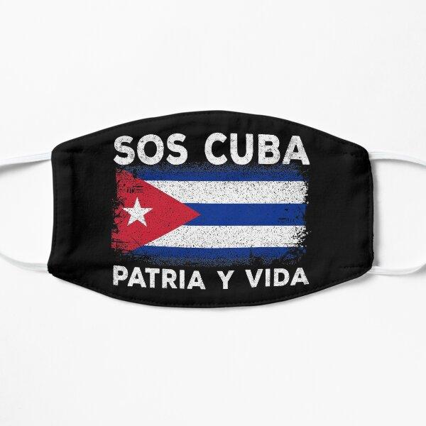 sos cuba flag patria y vida cubans pride Mascarilla plana