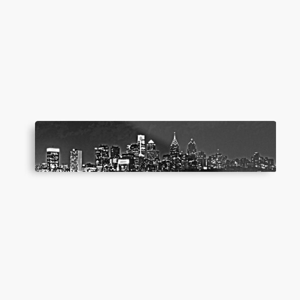 Philadelphia Skyline Panorama - Monochrome Metal Print