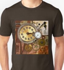 old clocks collage,clock parts,wood table,wood background Unisex T-Shirt