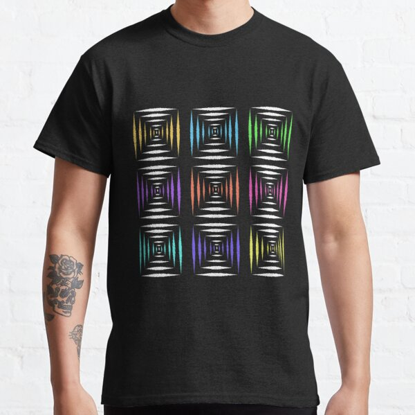 Abstract illustrations colorful white geometric square pattern design  Classic T-Shirt