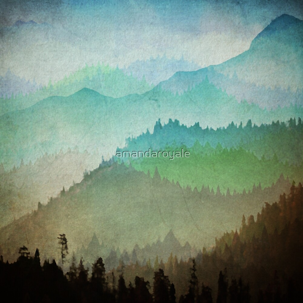 Watercolor Hills by amandaroyale