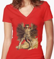 William Blake: The Great Red Dragon Women's Fitted V-Neck T-Shirt