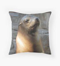 Stoic Sea Lion Throw Pillow