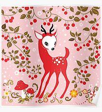 Cute Little Deer under Cherry Tree. Poster