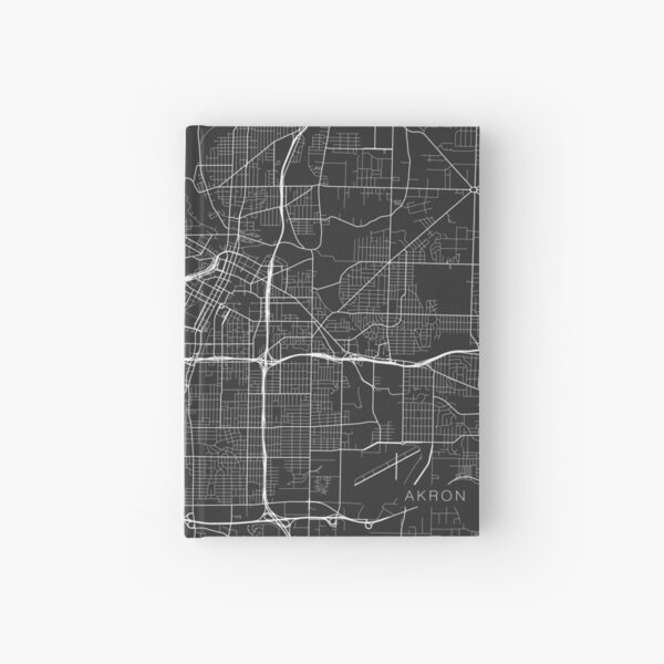 Akron Map, USA - Gray Hardcover Journal