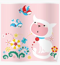 Cute White Kitty with Birds Poster