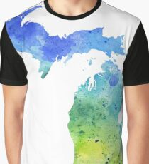 Watercolor Map of Michigan, USA in Blue and Green  Graphic T-Shirt