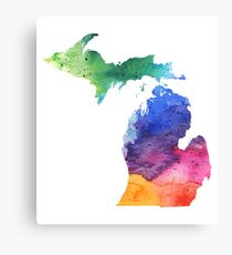 Watercolor Map of Michigan, USA in Rainbow Colors  Canvas Print