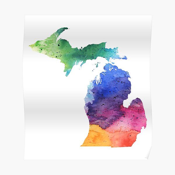 Watercolor Map of Michigan, USA in Rainbow Colors  Poster