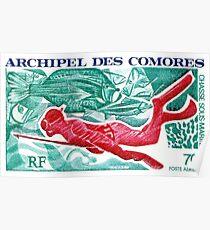 1972 Komoren-Speerfischen-Briefmarke Poster