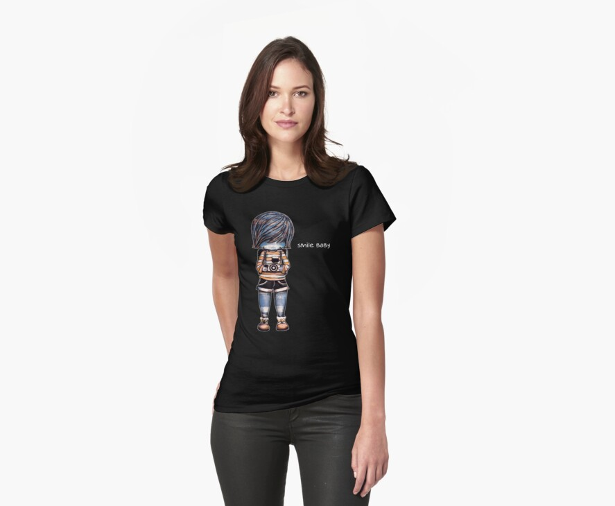 Smile Baby Retro Tee Womens Fitted T Shirts By Karin