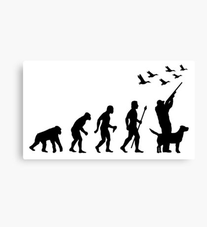 Duck Hunting Evolution Of Man Funny Silhouette Canvas Print