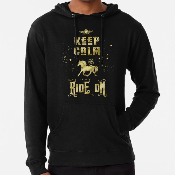 Keep Calm and Ride On Gold Horse Typography Lightweight Hoodie