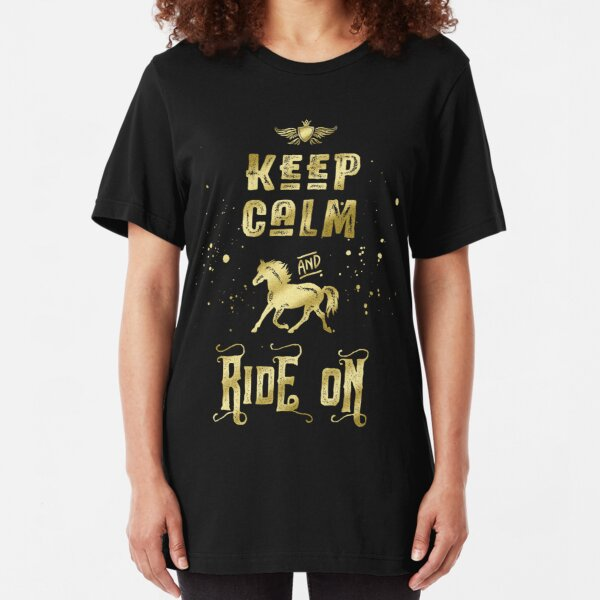 Keep Calm and Ride On Gold Horse Typography Slim Fit T-Shirt