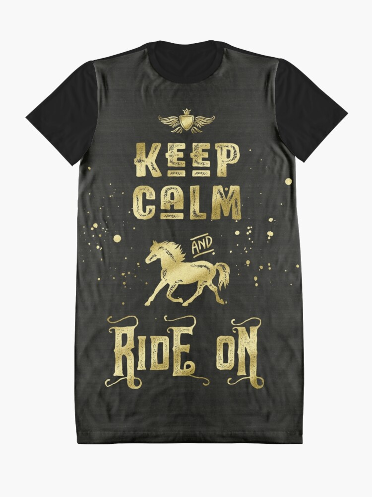 Alternate view of Keep Calm and Ride On Gold Horse Typography Graphic T-Shirt Dress