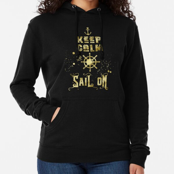 Keep Calm and Sail On Gold Helm Anchor Typography Lightweight Hoodie