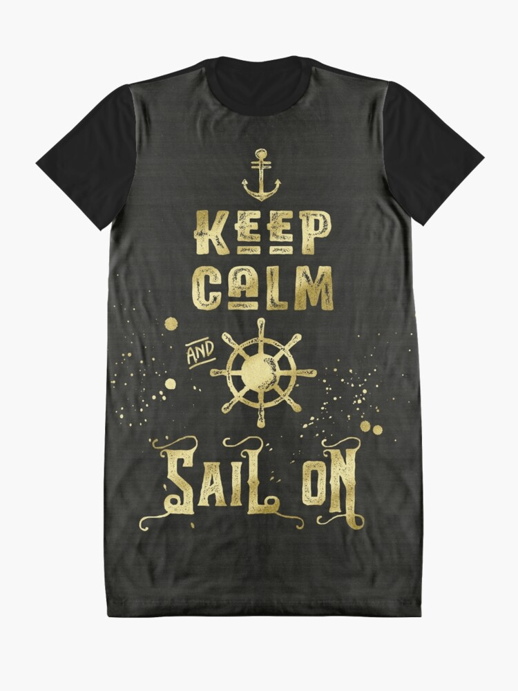 Alternate view of Keep Calm and Sail On Gold Helm Anchor Typography Graphic T-Shirt Dress