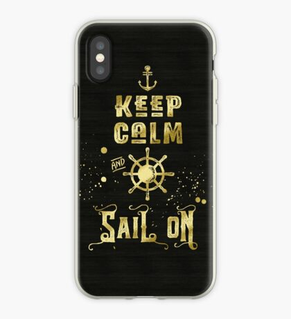 Keep Calm and Sail On Gold Helm Anchor Typography iPhone Case
