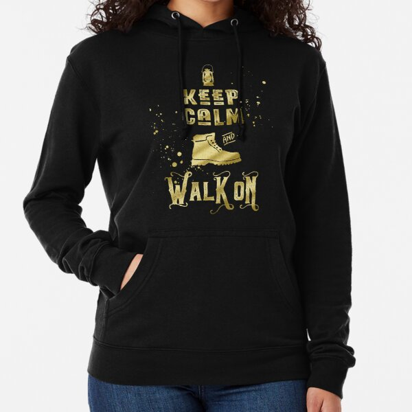 Keep Calm and Walk On Gold Hiking Boot Typography Lightweight Hoodie