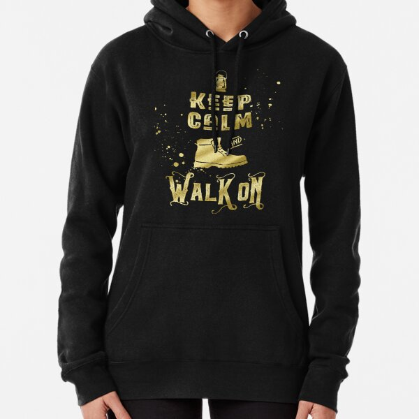 Keep Calm and Walk On Gold Hiking Boot Typography Pullover Hoodie