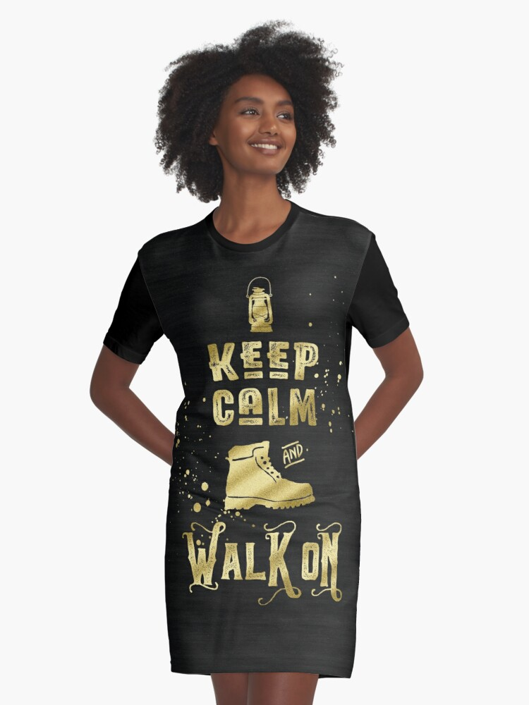 Keep Calm and Walk On Gold Hiking Boot Typography Graphic T-Shirt Dress Front