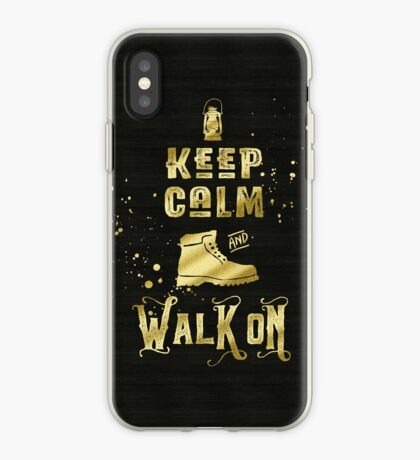 Keep Calm and Walk On Gold Hiking Boot Typography iPhone Case