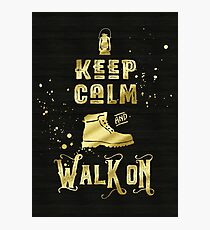 Keep Calm and Walk On Gold Hiking Boot Typography Photographic Print