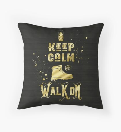 Keep Calm and Walk On Gold Hiking Boot Typography Throw Pillow
