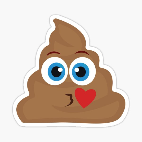Throwing a Kiss Pile of Poo Emoji Vector Sticker