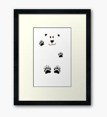 SAY HI TO THE BEAR IN THE SNOWSTORM Framed Print