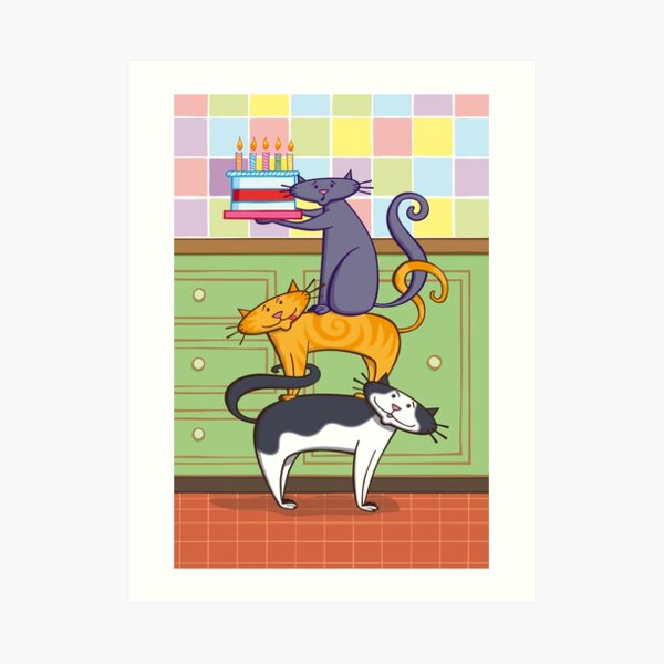 Cats Birthday Art Print