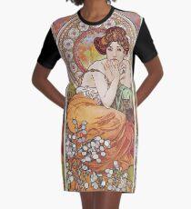 Alphonse Mucha - La Topazetopaz Graphic T-Shirt Dress
