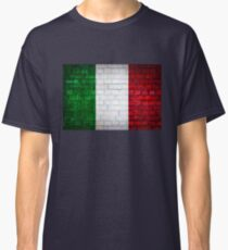 Italy flag painted on old brick wall texture background Classic T-Shirt