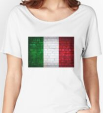 Italy flag painted on old brick wall texture background Women's Relaxed Fit T-Shirt
