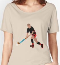 Male Field Hockey Player Women's Relaxed Fit T-Shirt