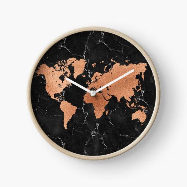 World Map - Rose Gold on Black Marble Clock