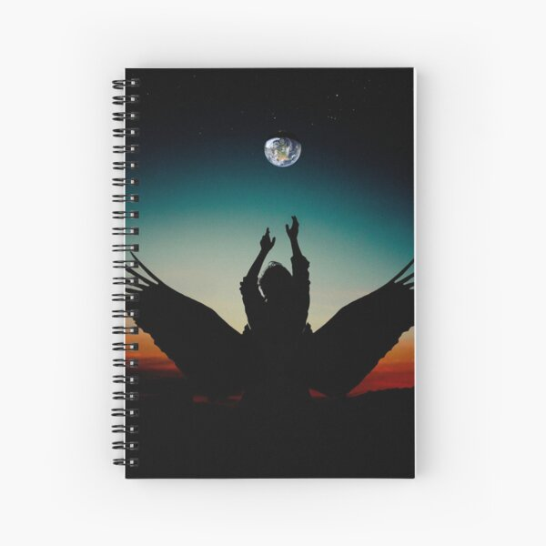 Angel reaching for the Earth silhouette Spiral Notebook