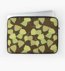 Birch leaves brown background Laptop Sleeve