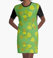 Birch leaves green background Graphic T-Shirt Dress