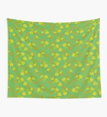Birch leaves green background Wall Tapestry