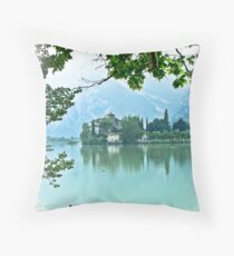 ... romantic fairytale-like fortress, Lake Toblino, Trento, Italy ~ 2 ~ Throw Pillow