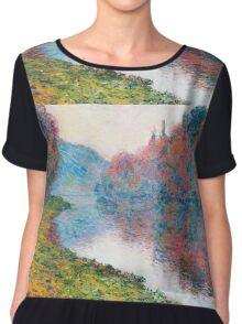 Claude Monet - Banks Of The Seine At Jenfosse Clear Weather Chiffon Top