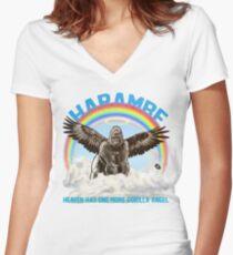Harambe - Gorilla Angel Women's Fitted V-Neck T-Shirt