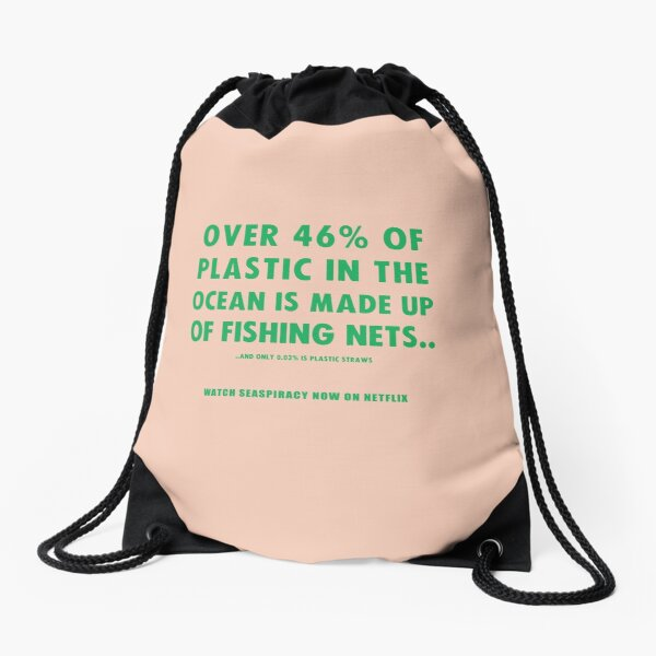 Watch Seaspiracy - Vegan Facts: 46% Of Plastic In The Ocean Is Made Up Of Fishing Nets Drawstring Bag