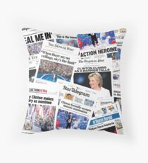 Hillary Clinton Nomination Historic Newspapers Throw Pillow